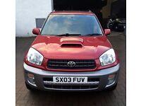 2003 Toyota Rav4 d4d DIESEL Gx 4x4 metallic red over silver, alloys, mot until June, history, LOVELY