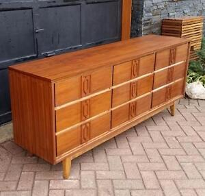 REFINISHED Mid Century Modern Walnut Dresser 9 Drawers
