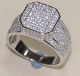 925 Sterling Silver Mens Ring with CZ Stones