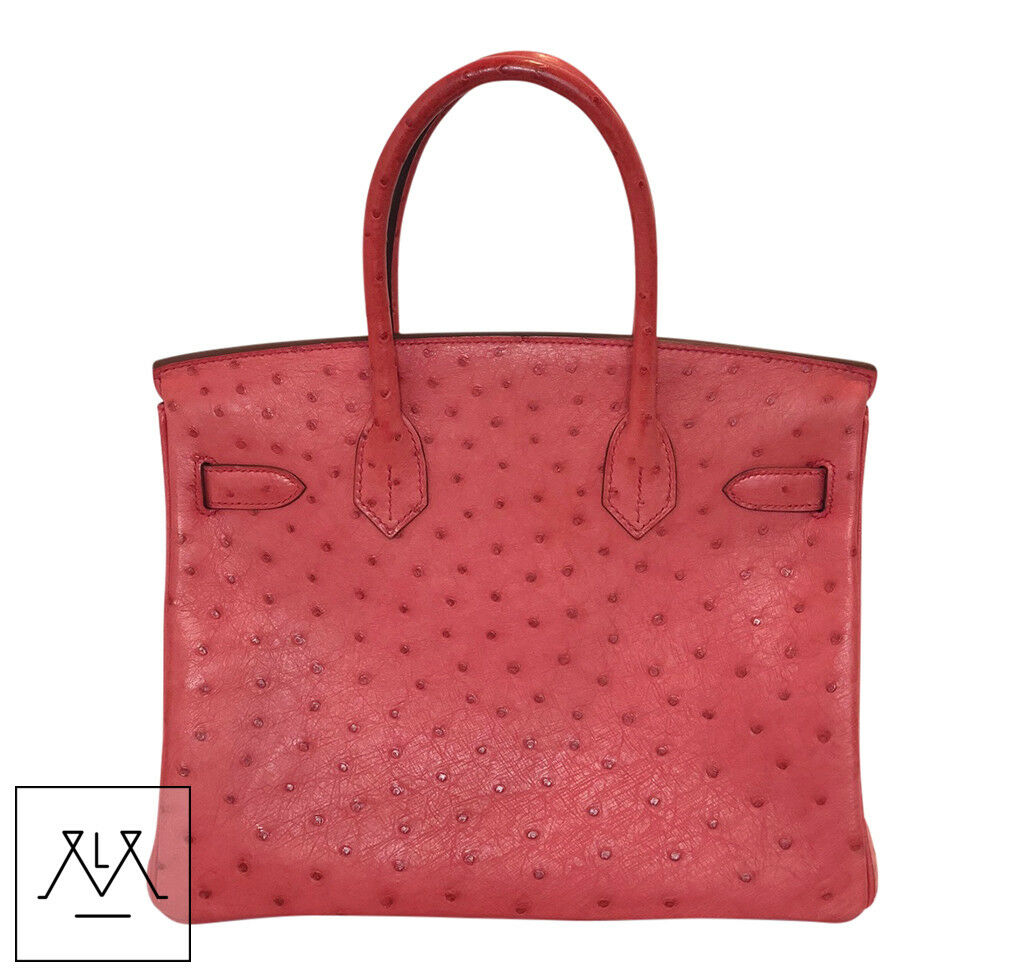 50346d7b5bc Hermes Birkin Bag 30cm Bougainvillea Red Ostrich Skin PHW - 100% Authentic