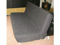 Sofa bed, IKEA Beddinge LOVAS, three seat to double bed, dark/black cover