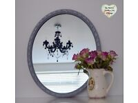 Hand Painted Mirror Large Grey Oval Antique Mirror Classic French Ornate Decorative