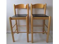 2 breakfast bar stools in a good condition, kitchen furniture chairs decor, wooden stools