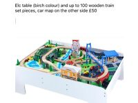 ELC play table and wooden train track