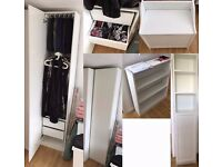Mint condition White furniture set ( Ikea pax wardrobe , bookcase, tall cabinet and storage bench )