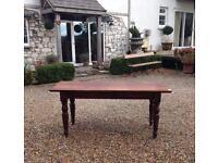 Antique farmhouse dark pine kitchen table