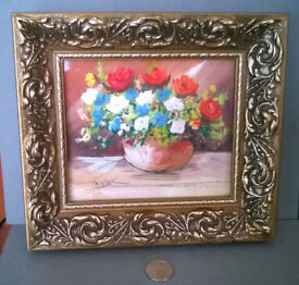 vintage framed miniature watercolor
