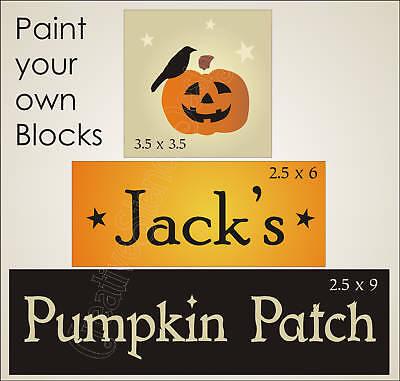 Country Halloween Stencils (Country Prim Stencil Jack Pumpkin Patch Crow Star Halloween Sign Shelf)