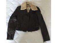 Faux leather dark brown jacket