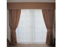 Beautiful long brown curtains and matching table runner