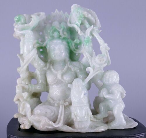 Fine Old Chinese Carved Jade Jadeite Goddess Kwan Yin Sculpture Carving Scholar