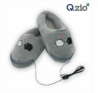 Q.Zio USB Heated Slippers 210~235mm 1 Pairs Gry Color