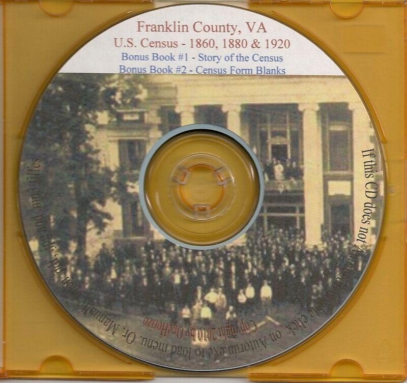 Franklin County VA Census Records 1860 +1880 +1920 - VA Genealogy