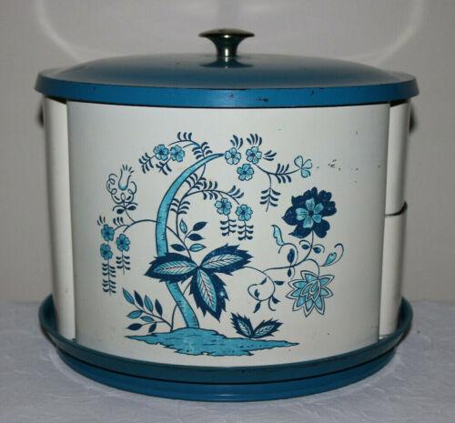 Mid Century Vintage Stacking Kitchen Hard Plastic Canister Set, Lazy Susan Blue