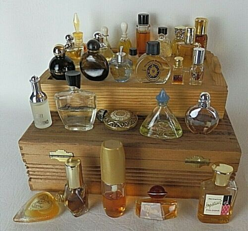 Lot of 28 Vintage Collectible Miniature Perfume Bottles Mini