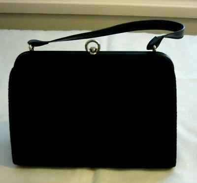 1950s Handbags, Purses, and Evening Bag Styles LOVELY VINTAGE 1950'S HANDBAG~PURSE~ BLACK~ BLACK HESSIAN LOOK~  VGC $22.85 AT vintagedancer.com