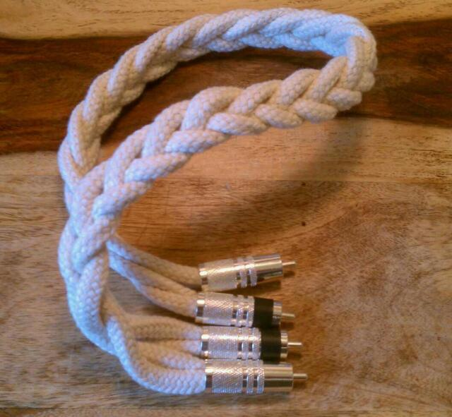 20awg Solid Silver RCA Interconnect Cable litz braided cotton connector 3ft