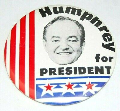 "Hubert Humphrey for President 1968 Political Pinback Campaign Button 1/"""