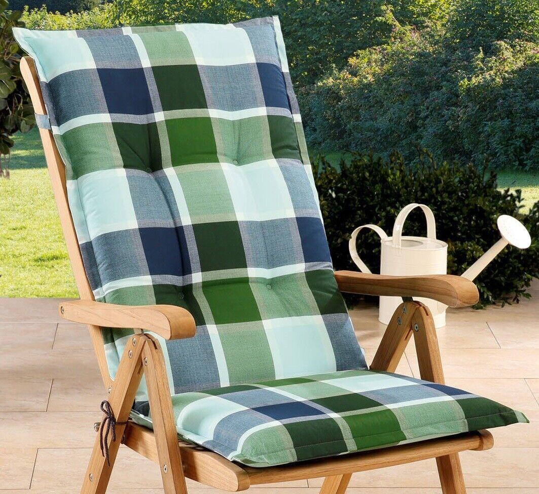 Gartenstuhlauflagen Sitzauflagen Auflagen für Hochlehner Grün Blau UVP 19,95