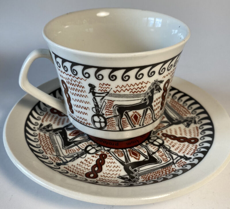 Leontaritis GREECE Souvenir Tea Coffee Cup and Saucer Greek Chariot Race Scene