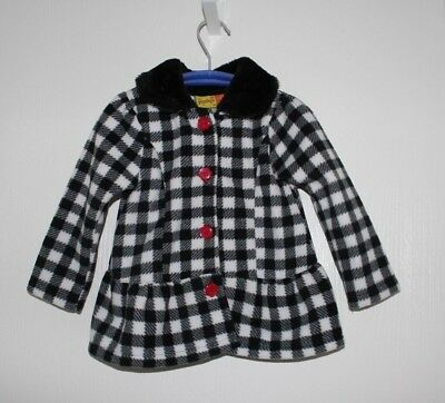 Penelope Mack Girls 3T Light Dress Coat White/Black Check Plaid Faux Fur Collar, used for sale  Buffalo Grove