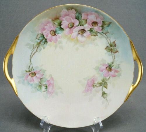 Thomas Bavaria Hand Painted Signed Yolanda Colella Pink Roses & Gold Cake Plate
