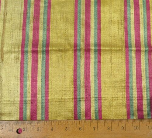 "Rare & Fabulous French 18thc Woven Lyon Silk Home Stripe Fabric c1760~30""LX18""W"