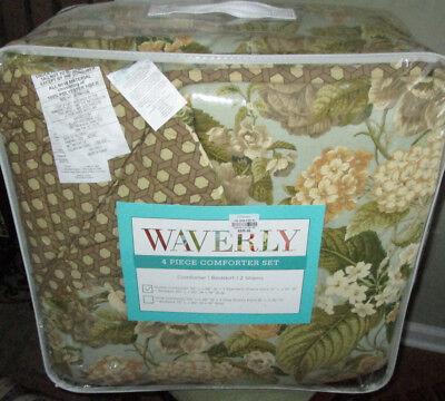 WAVERLY $335 Queen Comforter Set GARDEN FLORAL Tan blue Garden Queen Comforter