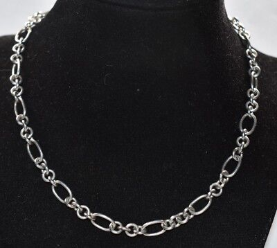 16 Toggle Rolo Necklace - Vtg SOLID Sterling Silver 925 ROLO LINK 7.5MM Wide Choker Toggle Necklace 16