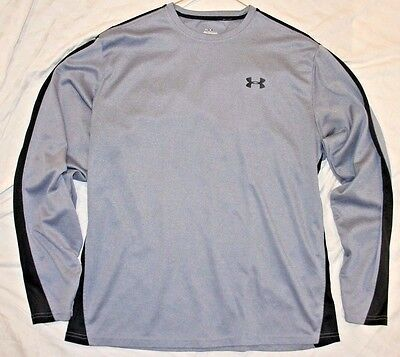 Men's Large Under Armour gray/black long-sleeve athletic shirt - EUC!