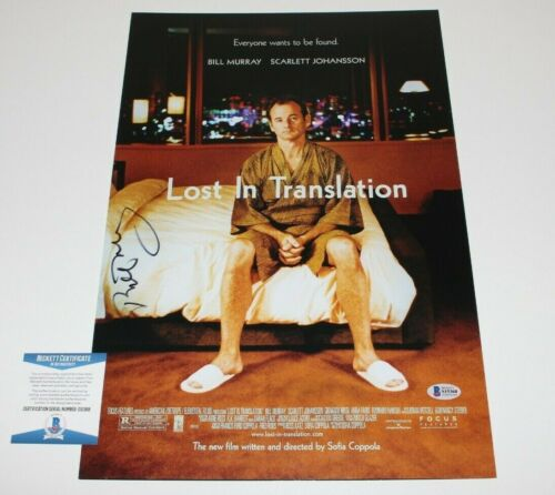 ACTOR BILL MURRAY SIGNED 'LOST IN TRANSLATION' 12x18 MOVIE POSTER BECKETT COA