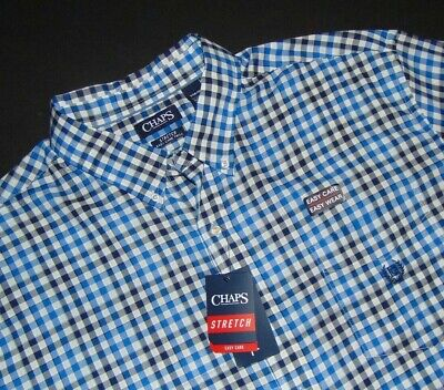 NWT, CHAPS Button Front Shirt ~ 3XB ~ Big & Tall ~ Easy Care Twill ~ Stretch NEW