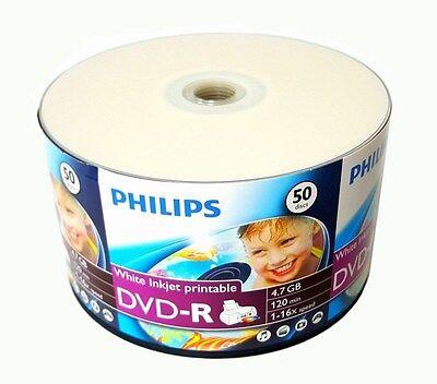 300 PHILIPS Blank DVD-R DVDR White Inkjet Printable 16X 4.7GB Storage Media Disc