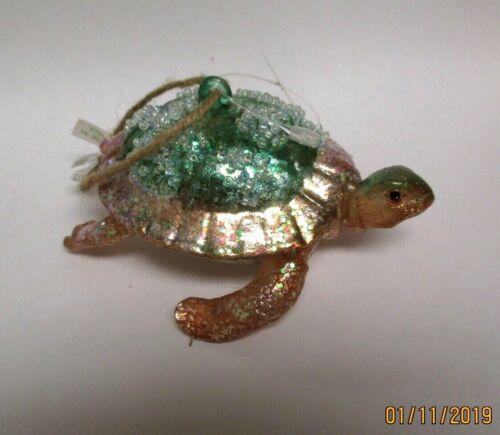 NWT Pottery Barn Glass Sea Turtle Ornament RETIRED