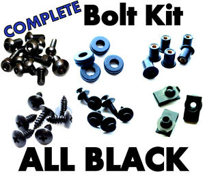 07-08 Yamaha YZF-R1 BLACK Fairing Bolts Screws COMPLETE Bolt Kit YZFR1 Fasteners