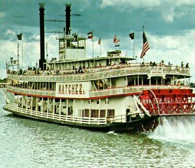 Natchez riverboat paddleboat sternwheeler boat New Orleans LA Vintage Postcard