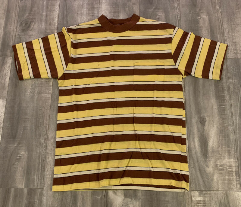 Vintage 70s Mojave Of California Dual Color Striped Pocket Tee Shirt Size Medium
