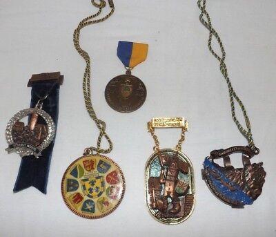 Group Of 5  German American Volks March  Volkswanderung  Medals  1977 1981