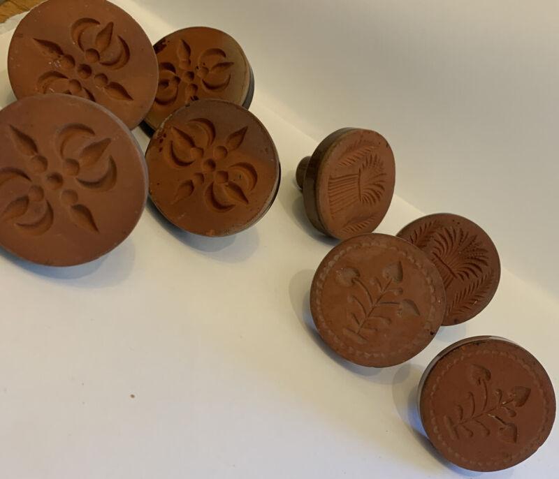 Vintage Rycraft Ceramic Terracotta Set of 8 Cookie Press Stamps Wheat Swirls