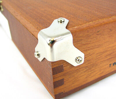 Cigar Box Guitar Parts: 8pc. Small Nickel Trunk/Box Corners w/ Screws 32-83-01 on Rummage