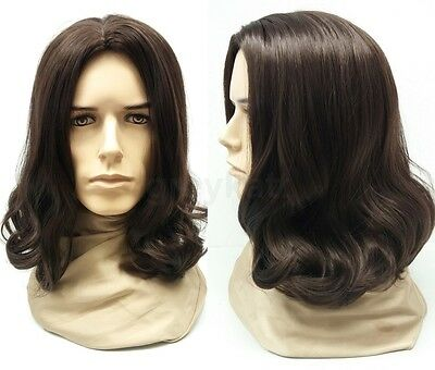 Mens Brown #6 Long Hair Wig Jesus Hippie Grunge Synthetic Costume 14