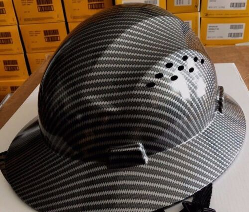 Safety Hard Hats Hat HDPE Hydro Dipped Black Full Brim With Fas-trac Suspension