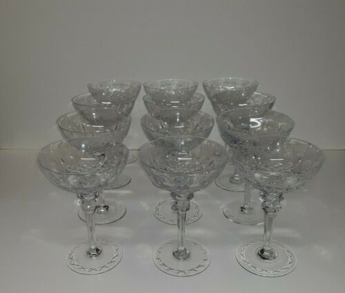 12 Old or Antique Cut Crystal Champagne Wine Glasses