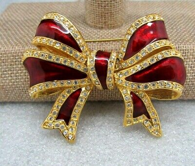 JOAN RIVERS CANDY APPLE RED ENAMEL GOLD TONE PAVE CRYSTAL BOW PIN BROOCH -
