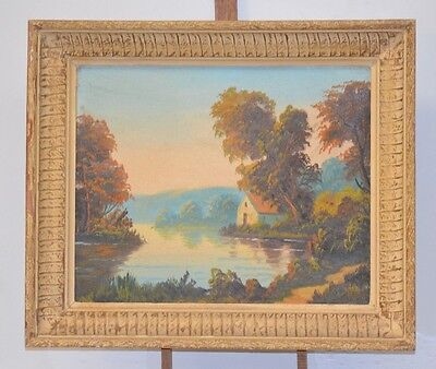 ANTIQUE PAINTING ORIGINAL PAINTING ON CANVAS SIGN ?? HOME LAKE
