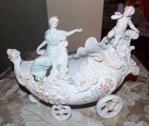 Antique Nouveau Bisque Porcelain Chariot Stunning Jeweled