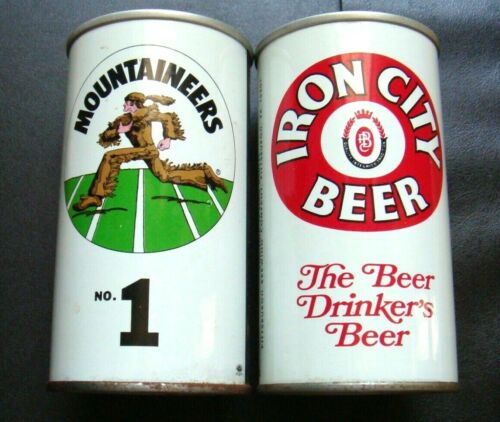 IRON CITY CAN  FOOTBALL RUNNING  MOUNTAINEERS NO.1  STEEL BEER CAN  (ONE)  MT