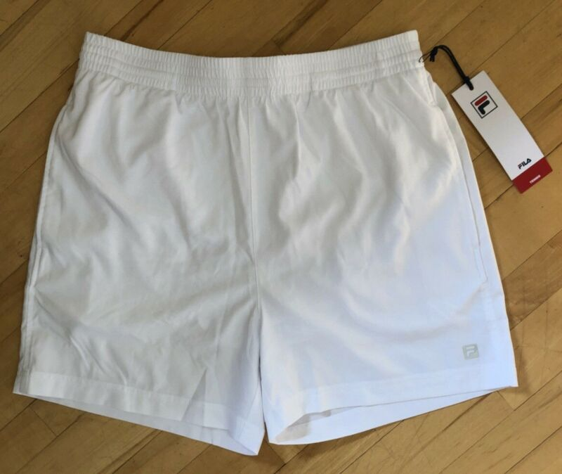 "New Fila Clay Mens Tennis Shorts Size Medium White Pockets 5"" Inseam Drawstring"