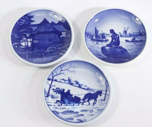 """Royal Copenhagen Denmark Butter Pat Small Plate Set Of 3 Cobalt Blue 3 1/4"""" Mint"""