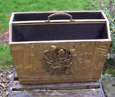 Vintage retro brass and wood magazine/newspaper rack medieval kitchen theme used